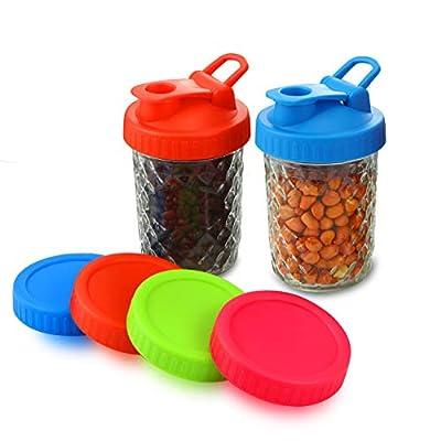 6pcs Pack Wide Mouth Mason Jar Lids for Ball Kerr and More, Includes 2pcs Leakproof Mason Jar Flip Cap Lids and 4pcs Airtight Mason Jar Storage Lids
