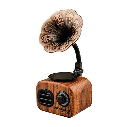 LXH-SH Placa giratoria Altavoz Bluetooth Altavoz Retro gramófono portátil Mini con TF Ranura GK99 portátil Jugador (Color : Brown)
