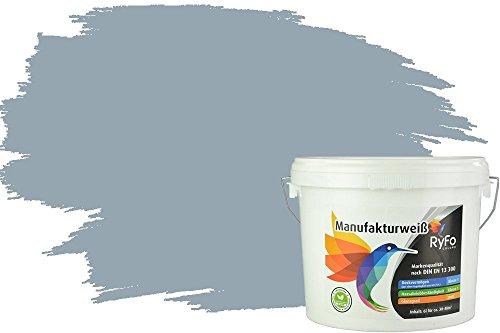 RyFo Colors Bunte Wandfarbe Manufakturweiß Denimgrau 6l - weitere Grau Farbtöne und Größen erhältlich, Deckkraft Klasse 1, Nassabrieb Klasse 1