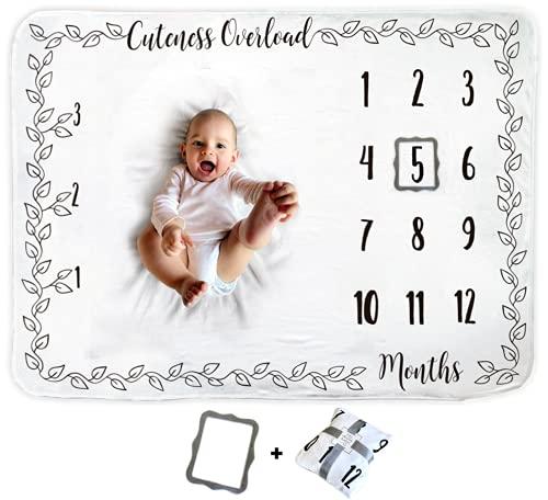 Cobija de Bebé | Manta Mensual de Bebé | Cobija de Fondo Fotográfica | 1 a 12 Meses | Incluye Marco Gris | El Mejor Regalo de Baby Shower | Para Niño o Niña