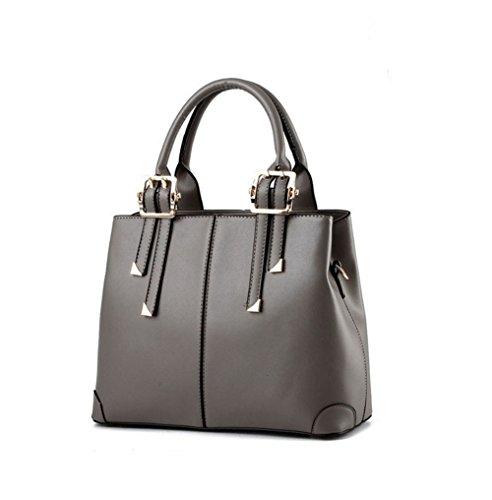 QUBABOBO Frauen Leder Top Mit Reißverschluss Schließung Handtaschen Grau