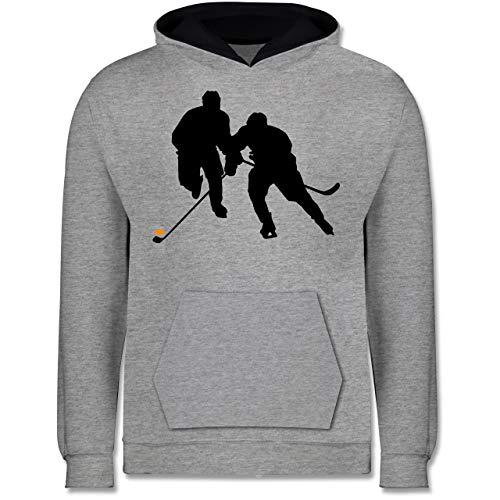 Sport Kind - Eishockeyspieler - 140 (9/11 Jahre) - Grau meliert/Navy Blau - Eishockey - JH003K - Kinder Kontrast Hoodie