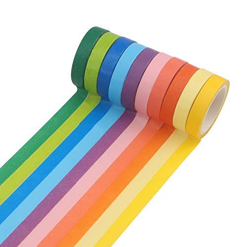 Soleebee 10 Rollen buntes Washi Masking Tape Set 7mm breit, Rainbow Tape Dekorativ für DIY Handwerk, Karten, Sammelalbum, Fotoalbum, Weihnachten - 5M