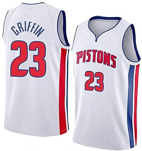 JFIOSD Hombre Jersey,NBA Pistons n#23 Griffin Ropa de Baloncesto,Camisetas Al Aire Libre Casual Mujer Redondo CháNdales,Blanco,L