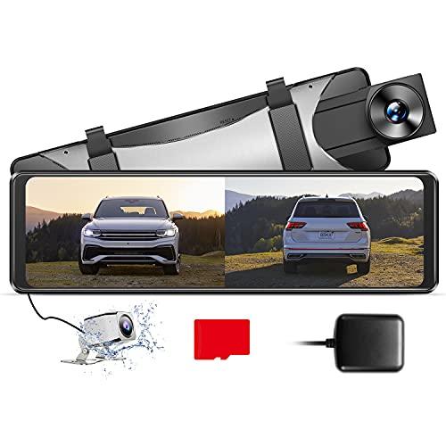 """AZDOME 11\"""" Spiegel Dashcam mit Rückfahrkamera[2.5K 1440P, 170°Vorne+1080P, 150°Hinten] GPS, Super Nachtsicht, WDR, Loop-Aufnahme, G-Sensor, Einparkhilfe, Parküberwachung, 32G Micro SD-Karte (PG16S)"""