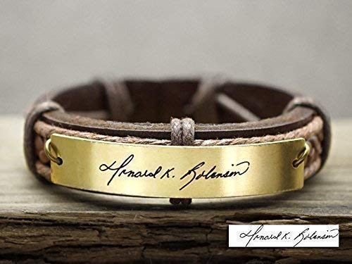 6mm Genuine Pink Braided Leather Bracelet Personalized Custom Engraved Handwriting Charm Bracelet Stainless Steel Signature Charm