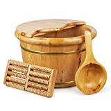 Wooden Soaking Tub for Foot Spa-Wood Foot Soak Bath Bucket 15 Inch Extra Large Cedar Basin Barrel with Cover Lid and Massager Roller