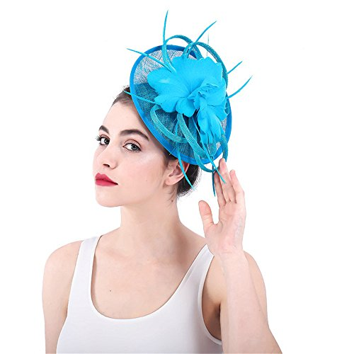 Wenzhihua - Auricular Royal Ascot para Mujer, Gorra de Malla con diseño de Flores, Clip para cóctel, Fiesta, Banquete, Sombrero de Novia para Mujer