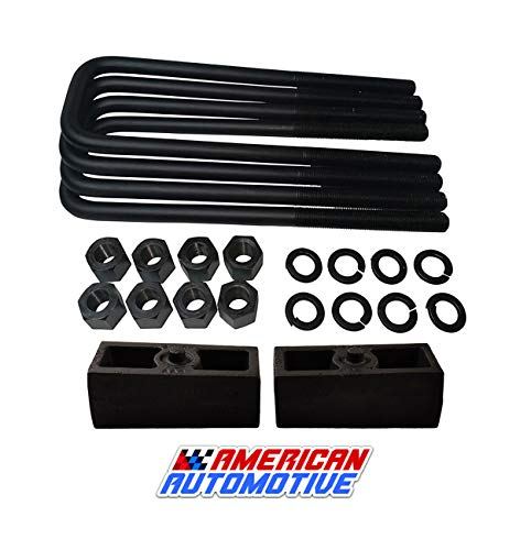 "American Automotive UBRB10-490, 2"" Rear Suspension Lift Solid Cast Iron Blocks Plus 12"" Extra Long, Square Leaf Spring Axle U Bolts"