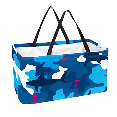 Bolsa de supermercado reutilizable Contenedores de almacenamiento grandes de 50L Cesta de compras Bolsas de asas Rosy Anchor Navy Shark Blue Camo