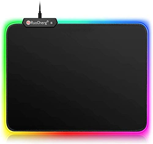 Tappetino RGB Mouse Gaming 300 x 250mm Mouse Pad 10 Effetti Luce, Superficie Liscia Base in Gomma Antiscivolo per PC, Laptop e Notebook