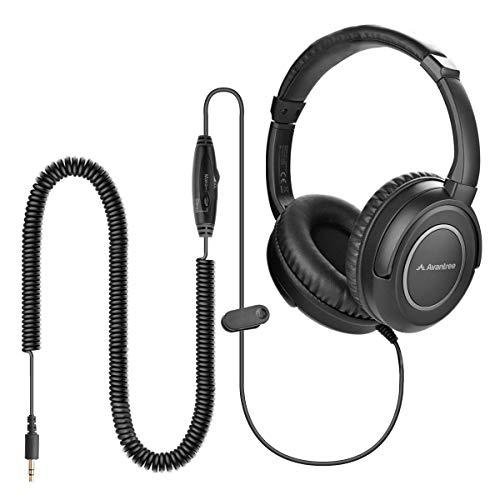 Avantree HF039 Auriculares Largos para TV, Cable de Extendido de 16,4 pies / 5M, Auriculares Diadema Cable, Salida de Audio de 3,5 mm, con Bobina espiralen Cable y Control de Volumen en línea