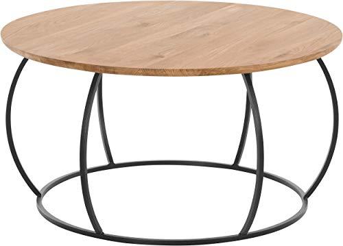 Wood Furniture Couchtisch aus massivem Eichenholz, rund, für Wohnzimmer, mit Metallrahmen, Ø80 x 45 cm