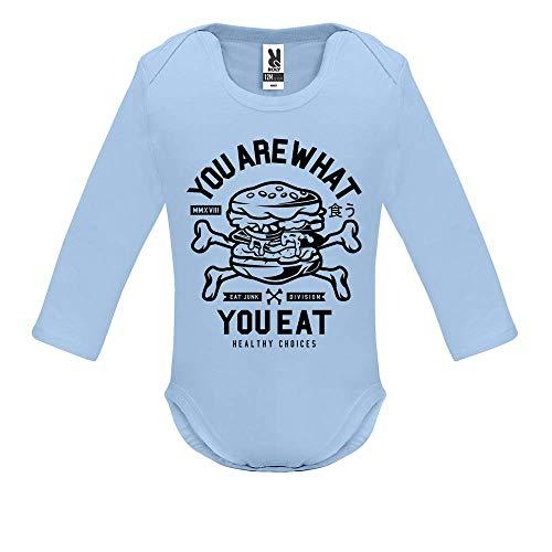 LookMyKase Body bébé - You are What You Eat - Bébé Garçon - Bleu - 3MOIS