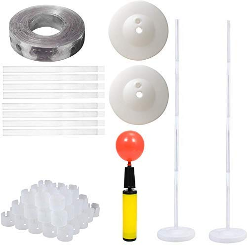 2 Set Balloon Column Base and Pole with Free Balloon Strip, Balloon Rings & Pump .4 Feet High Balloon Tower for Party & Event Decoration.