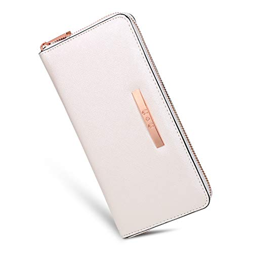 U+U Iphone Wallet Case for Women Long Soft PU Leather Zipper Clutch Large Capacity with 8 Cards Slots(Pearl White)