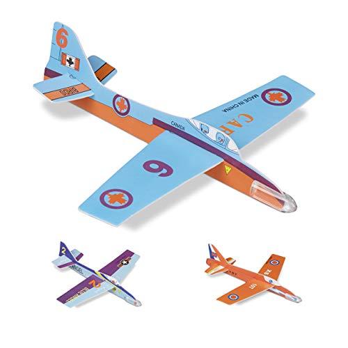 Relaxdays 10024318, kleurrijke piepschuimvlieger set, verpakking van 48 stuks, verschillende modellen, cadeautje kinderverjaardag, XXL glijder, 20 cm