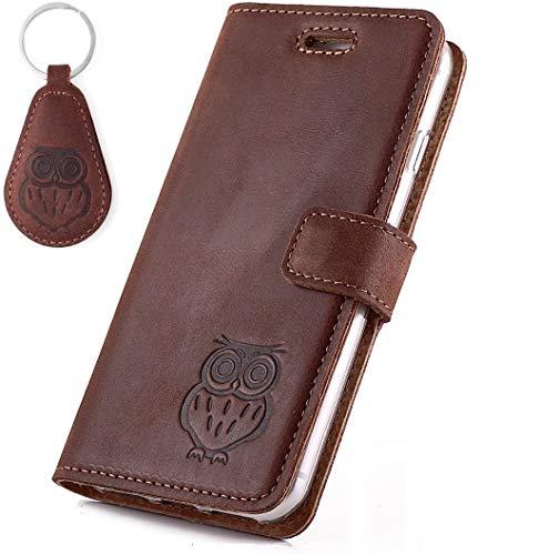 SURAZO Handy Hülle Für Samsung Galaxy Note 20 - Eule - TV RFID Nubuk Nussbraun - Ölleder Premium - Vintage Wallet Case