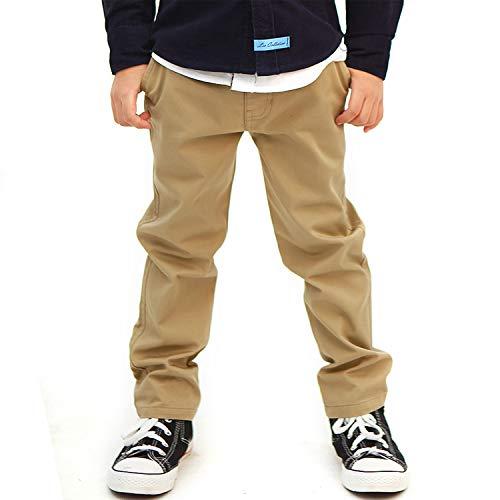 Leo&Lily Boys Kids 100% Cotton Twill Elastic Waist Regular Fit Pants Trousers (Khaki,12) LLB4A01