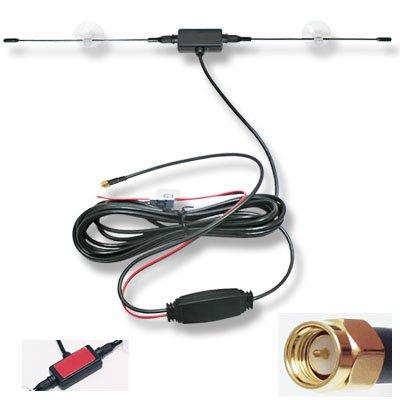 吸盤付ダイポール型 SMA端子 TVアンテナ 強力ブースター 配線約290cm ワンセグ/フルセグ 12Vの電源を使用しますので安定した映像が供給