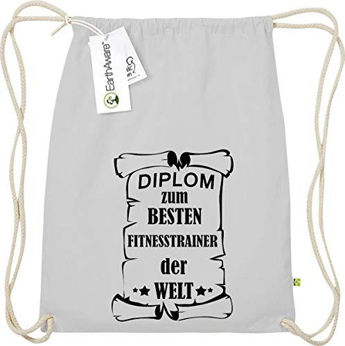 Camiseta stown Organic gymsac Diploma el mejor Fitness Entrenamiento del Mundo, color gris claro, tamaño talla única