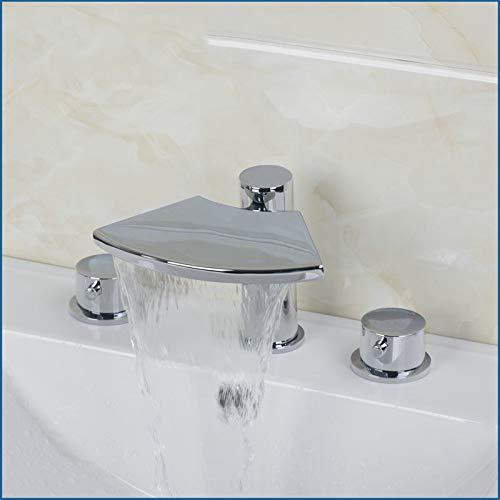 ZHXIFE Grifo de la bañera Bañera Grifo de baño 32C 2 Manijas Grifos Grifos de Cascada Mezcladores y Amplificador; Grifería Bañera Mezclador Acabado Cromado