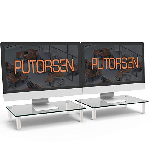 PUTORSEN Soporte de Monitor pc - Elevador de Monitor 8cm de Altura para Laptop, Ordenador, PC, Impresora, Soporte Vidrio Templado Ergonómico de Escritorio para Monitor(2 Pack)