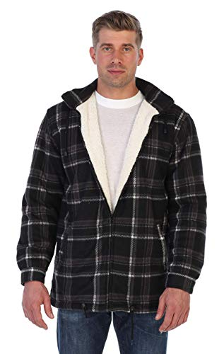 Gioberti Mens Sherpa Lined Flannel Jacket with Removable Hood, Charcoal/White, M