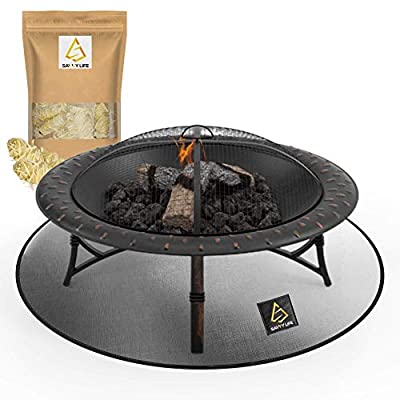 """Fire Pit Mat & Grill Mat with 24Pcs Fire Starters 