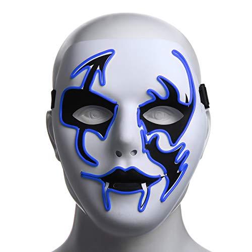 Bureze Máscara de Halloween LED luminosa intermitente máscara de fiesta máscaras...