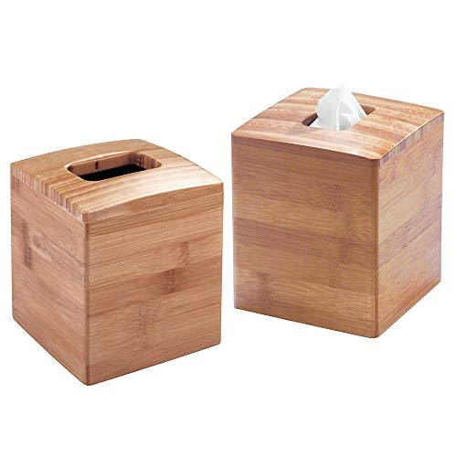 MDESIGN 2er-Set Kosmetiktücherbox – quadratische Taschentuchbox aus Bambus für einfache Tissue Boxen – moderner Taschentuchspender für Bad, Küche oder Büro – naturfarben