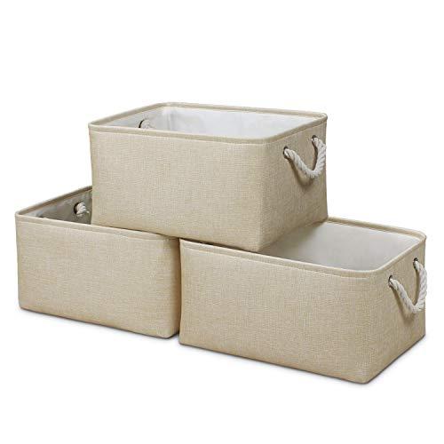 Syeeiex Large Fabric Aufbewahrungsboxen [3er-Pack] Spielzeugkörbe, dekorative Körbe mit Griffen, Aufbewahrungskörbe für Regale, Spielzeug, Kleidung, Büro (Beige)