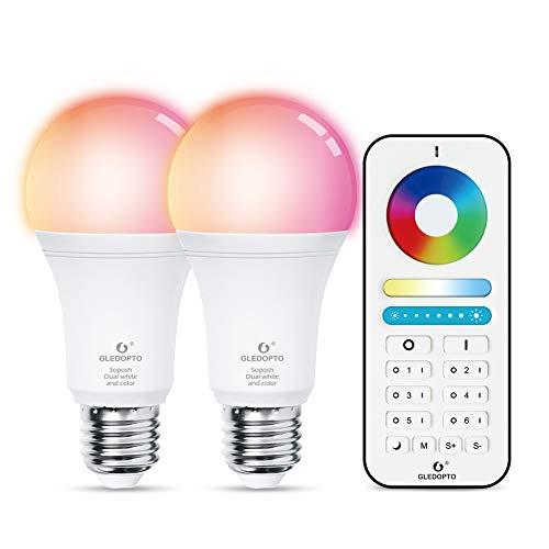 RONSHIN GLEDOPTO ZIGBEE 3.0 Ampoule RGBCCT 12 W avec télécommande APP, E27, 2200K-6500K
