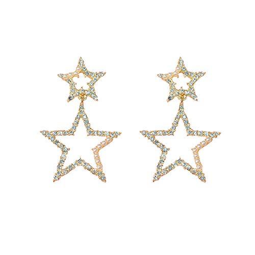 Pendientes para mujer largos Antialérgicos Aretes con pentagrama de perlas y diamantes de temperamento El mejor regalo de cumpleaños o vacaciones
