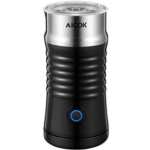 Milk Frother Aicok, Double Wall Electric Milk Steamer with Hot or Cold Milk Foaming Functions, Strix Controller, Silent Operation, Non-Stick Coating, Milk Warmer, for Making Latte, Cappuccino, Black