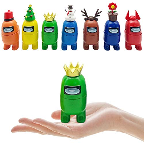Among Us Toy, 7 Pieces Christmas Decorations, Astronaut Crewmate Desk Toy, Mini Character Games Doll Statue Toy, Gifts for Game Fans Kid Adult