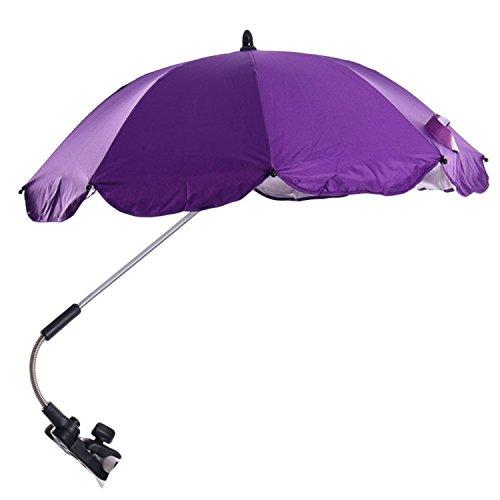 Einstellbar Baby Kinderwagen Sun Shade UV Regenschutz Umbrella Sonnenschirm mit Swivel Connector für Rollstuhl Kinderwagen Zubehör Lila