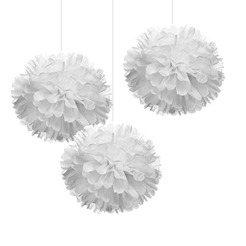 12 White Tissue Pom Poms DIY Hanging Paper Flowers for Party Decorations, 12 pcs