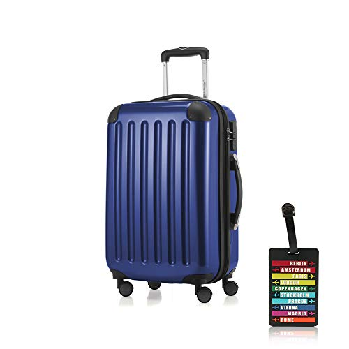 Hauptstadtkoffer - Alex Handgepäck Kabinentrolley Bordgepäck Hartschalen-Koffer, sehr leicht, Zahlenschloss, 55 cm, 42L, Dunkelblau +Design Kofferanhänger
