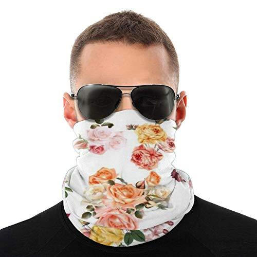 MAY-XCustom 12-In 1 Headwear,Mega Collection Rose Flowers Neck Bandana, Elegantes Protectores Faciales Deportivos para Escalada En El Gimnasio,25x50cm