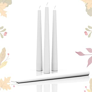CANDWAX 12 inch Taper Candles Set of 4 - Dripless and Smokeless Candle Unscented - Slow Burning Candle Sticks – White Cand...