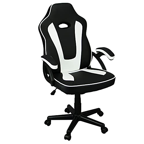 Ninecer Ergonomic Gaming Chair Cheap, Racing Style High Back Office Chair Computer Chair, PU Material with Padded Armrests and Height Adjustment Video Game Chair (White)