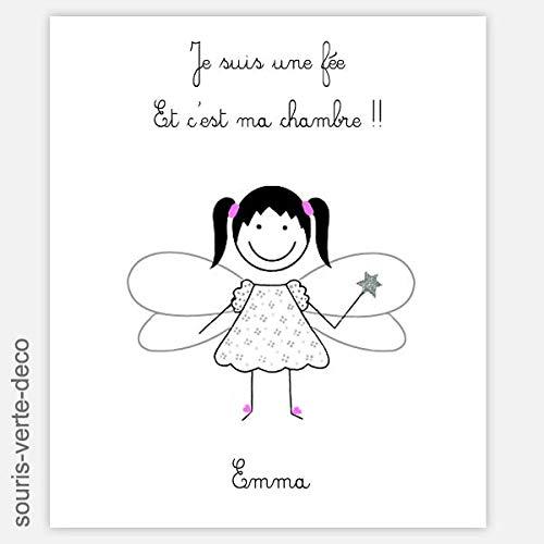Plaque de porte fée avec prénom, deco chambre enfant fille bébé,cadeau naissance personnalisable