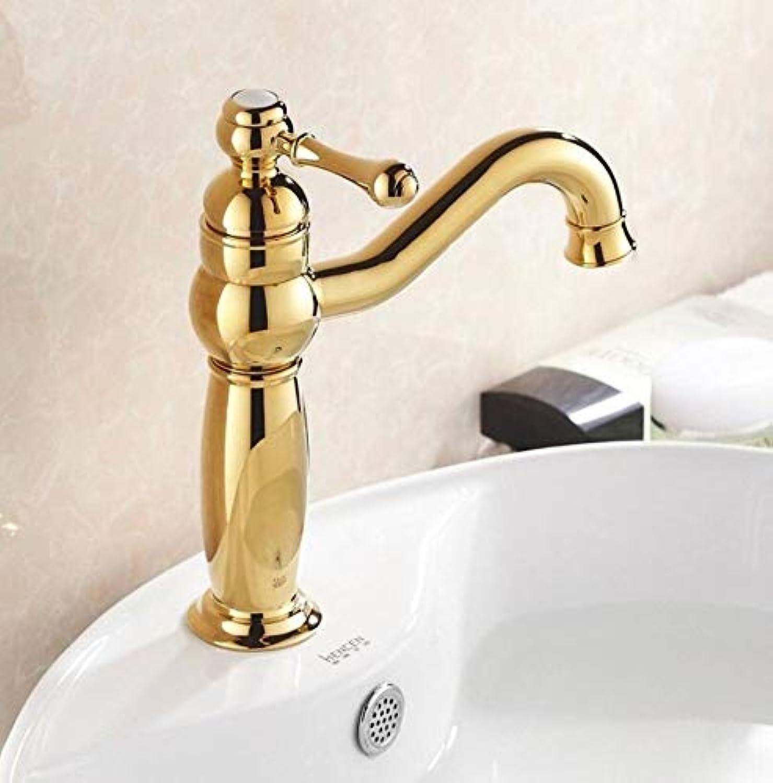 Wasserhahn Waschbecken Goldener überzogener Becken-Mischbatterie-Hahn-Einzelner Loch-Wannenhahn
