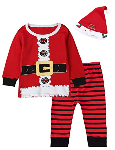 Baby Boys Girls Christmas Santa Claus Costume Outfit Clothes Pants Set (Red, 12-18 Months)