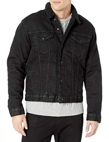 Lucky Brand Men's Button Trucker Jacket, Factory Place Sherpa, S