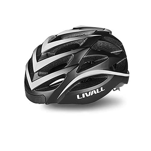 LIVALL BH62 Smart Bling Bike Helmet with Lights LED on Back, Built-in Windbreak Mic, G-Sensor, Bluetooth Speaker, with Bling Jet Controller Cycling Helmet (Black/White)