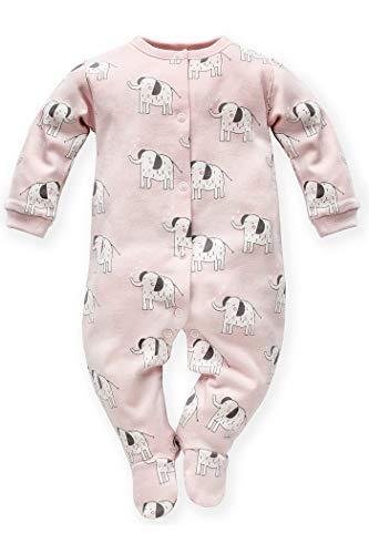 Grenouillère bébé avec pieds éléphants à manches longues - Pyjama une pièce avec pied éléphant Animals Zoo Jungle - Rose - 100 % coton - Taille 74