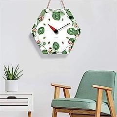 TIANYOU Wall Clock Polygon Bracket Clock Lanyard Clock Acrylic Silent Wall Clock Living Room Bedrooms Kitchen Bracket Clock 14 Inches Small Wall Clock #3