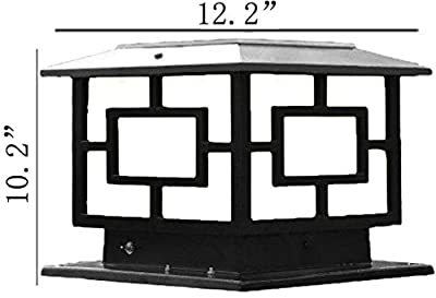 The 12.2 Inch X 12.2ch in Solar Powered Very Large Post Cap Lights Or Outdoor Solar Pillar Lights (Larger Pure Black)